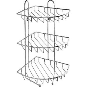 Полка-решетка Milardo трехъярусная угловая с крючками, нержавеющая сталь (110WC30M44) полка угловая 22 5х22 5 см milardo 110wc30m44