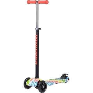 Самокат-кикборд NOVATRACK RainBow подростковый свет.колеса max 60кг неоновый цветной дизайн розо