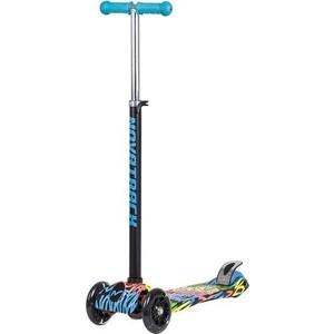 Самокат-кикборд NOVATRACK RainBow подростковый свет.колеса max 60кг неоновый цветной дизайн сини