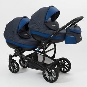 Коляска 2 в 1 Mr Sandman Duet 50% Эко кожа синий Перфорированный - темно-синий коляска mr sandman guardian 2 в 1 графит серый kmsg 043601