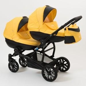 Коляска 2 в 1 Mr Sandman Duet 50% Эко кожа черный Перфорированный - жёлтый коляска 2 в 1 для двоих детей mr sandman duet 50% эко кожа черный перфорированный фиолетовый 11