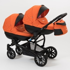 Коляска 2 в 1 Mr Sandman Duet 50% Эко кожа черный Перфорированный - оранжевый коляска 2 в 1 mr sandman mod 50% эко кожа бордовый 21
