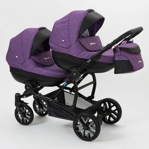 Коляска 2 в 1 Mr Sandman Duet 50% Эко кожа черный Перфорированный - фиолетовый коляска mr sandman guardian 2 в 1 графит серый kmsg 043601