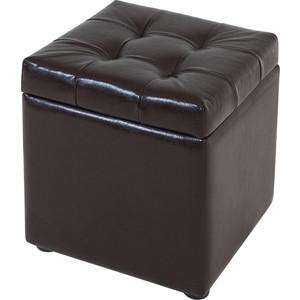 Пуф Шарм-Дизайн Квадро с ящиком экокожа коричневый