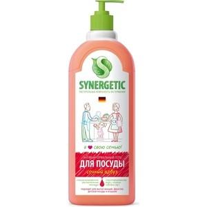 Средство для мытья посуды Synergetic Сочный арбуз, антибактериальный, 1 л synergetic антибактериальный гель для мытья посуды сочный апельсин 5 л сменный блок