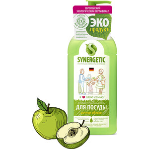 Средство для мытья посуды и фруктов Synergetic Яблоко, концентрированное, 500 мл