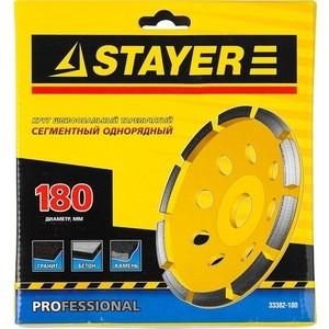 Чашка алмазная шлифовальная Stayer Professional однорядная, высота 22,2 мм 180 (33382-180)