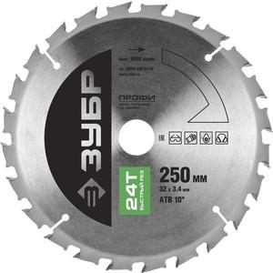 Диск пильный Зубр 250х32 мм 24Т (36850-250-32-24) диск пильный зубр 190х30 мм 24т 36850 190 30 24