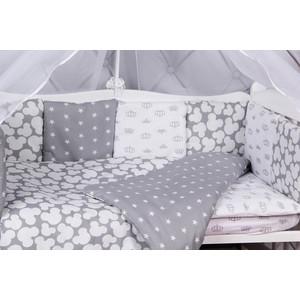 Борт в кроватку AmaroBaby 12 предметов (12 подушек-бортиков) SILVER (серый)