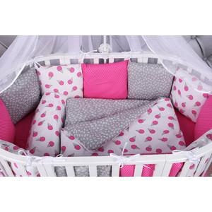 Борт в кроватку AmaroBaby 12 предметов (12 подушек-бортиков) SWEET (малин./белый, бязь)