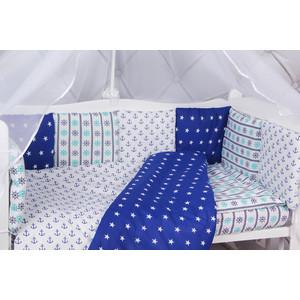 Борт в кроватку AmaroBaby 12 предметов (12 подушек-бортиков) голубой вязь
