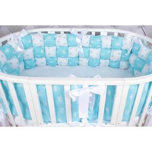 Борт в кроватку AmaroBaby 6 предметов (6 подушек-бортиков) Бонбон Royal care (бязь, бирюзовый)