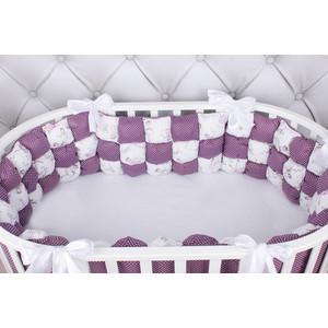 Борт в кроватку AmaroBaby 6 предметов (6 подушек-бортиков) Бонбон Royal care (бязь, вишня/белый)