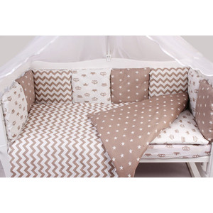Комплект в кроватку AmaroBaby 15 предметов (3+12 подушек-бортиков) ROYAL BABY коричневый (бязь)
