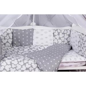 Комплект в кроватку AmaroBaby 15 предметов (3+12 подушек-бортиков) SILVER (серый)