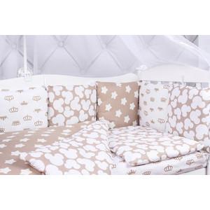 Комплект в кроватку AmaroBaby 15 предметов (3+12 подушек-бортиков) SOFT (коричневый, бязь)