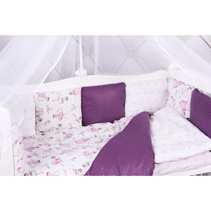 Комплект в кроватку AmaroBaby 15 предметов (3+12 подушек-бортиков) АМЕЛИ (бязь, вишня/белый)