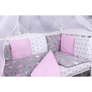 Комплект в кроватку AmaroBaby 15 предметов (3+12 подушек-бортиков) МЕЧТА (серый/розовый,поплин/бязь)