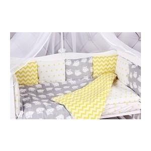 Комплект в кроватку AmaroBaby 15 предметов (3+12 подушек-бортиков) СОВЯТА (бязь, желтый/серый) цена