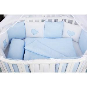 Комплект в кроватку AmaroBaby 18 предметов (6+12 бортиков) КРОХА Premium (голубой)