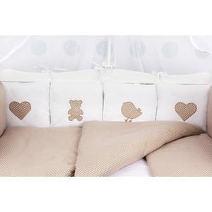 Комплект в кроватку AmaroBaby 18 предметов (6+12 бортиков) КРОХА Premium (кофе)