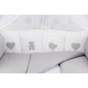 Комплект в кроватку AmaroBaby 18 предметов (6+12 бортиков) КРОХА Premium (серый)