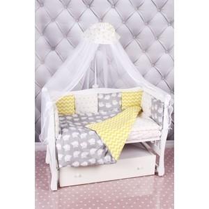 Комплект в кроватку AmaroBaby 18 предметов (6+12 бортиков) СОВЯТА Premium (бязь, желтый/серый)