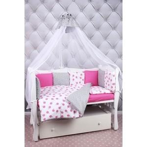 Комплект в кроватку AmaroBaby 19 предметов (7+12 бортиков) SWEET Premium (малиновый/белый, бязь) комплекты в кроватку makkaroni kids sweet baby 125x65 6 предметов