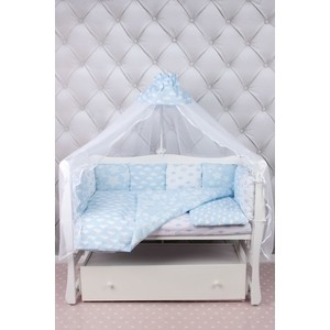 цена Комплект в кроватку AmaroBaby 19 предметов (7+12 бортиков) ВОЗДУШНЫЙ Premium (голубой,бязь) онлайн в 2017 году