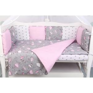 Комплект в кроватку AmaroBaby 19 предметов (7+12 бортиков) МЕЧТА Premium (серый/розовый,поплин/бязь)