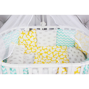 Комплект в кроватку AmaroBaby 19 предметов (7+12 подушек-бортиков) HAPPY BABY (мятный/желтый, бязь) комплект в овальную кроватку sweet baby aria 419059 бежевый 5 предметов
