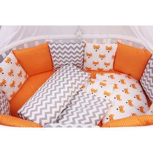 Комплект в кроватку AmaroBaby 19 предметов (7+12 подушек-бортиков) LUCKY (оранжевый,поплин/бязь)