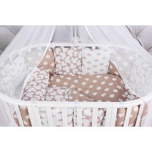Комплект в кроватку AmaroBaby 19 предметов (7+12 подушек-бортиков) SOFT (коричневый, бязь)