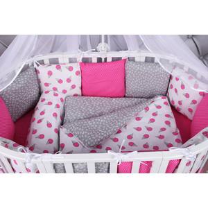 Комплект в кроватку AmaroBaby 19 предметов (7+12 подушек-бортиков) SWEET (малиновый/белый, бязь) комплекты в кроватку makkaroni kids sweet baby 125x65 6 предметов