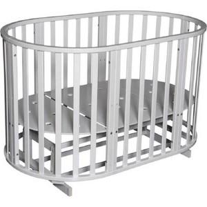 Кроватка Антел Северянка 3 6 в 1 маятник поперечного качания/колесо белый
