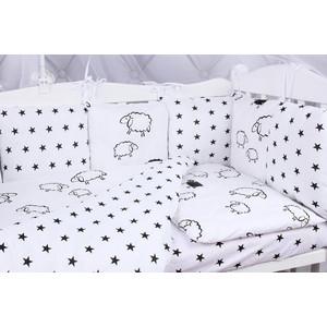 Борт в кроватку AmaroBaby 12 предметов (12 подушек-бортиков) HOME ELITE (черн (белый/сер,поплин/бязь)