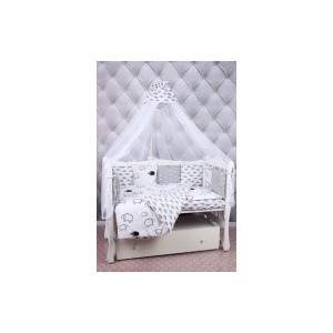 Комплект в кроватку AmaroBaby 19 предметов (7+12 подушек-бортиков) GOOD NIGHT (белый/сер,поплин/бязь)