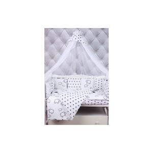 Комплект в кроватку AmaroBaby 19 предметов (7+12 подушек-бортиков) HOME ELITE (черн/бел.,поплин/бязь)