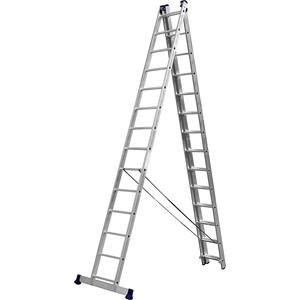 Лестница трехсекционная Сибин со стабилизатором 14 ступеней (38833-14)
