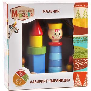 деревянные игрушки mapacha лабиринт сортер большой на колесиках Лабиринт-пирамидка Mapacha Мальчик на колесиках (76730)