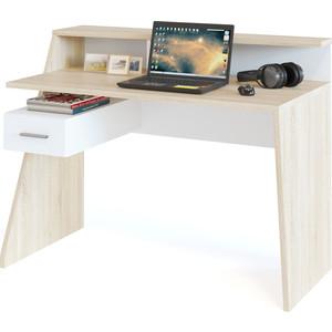 все цены на Компьютерный стол СОКОЛ КСТ-108 дуб сонома/белый онлайн