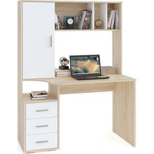 Компьютерный стол СОКОЛ КСТ-16 дуб сонома/белый стол компьютерный сокол кст 109п дуб сонома белый