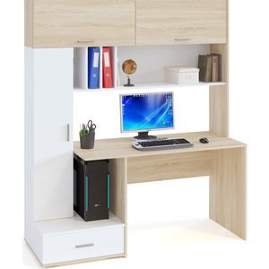 Компьютерный стол СОКОЛ КСТ-17 Дуб сонома/Белый стол компьютерный сокол кст 109п дуб сонома белый