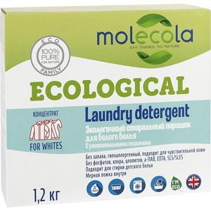 Стиральный порошок Molecola для белого белья с растительными энзимами, экологичный, 1.2 кг