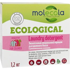 Стиральный порошок Molecola для цветного белья с растительными энзимами экологичный, 1.2 кг стиральный порошок molecola для белого и цветного детского белья экологичный 1 2 кг
