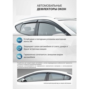Дефлекторы окон AutoFlex для Renault Kaptur (2016-н.в.), акрил, 4 шт., 847005