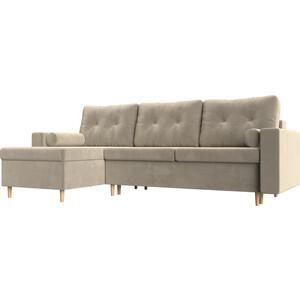 Угловой диван Мебелико Белфаст микровельвет бежевый левый угол