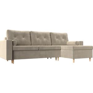 Угловой диван Мебелико Белфаст микровельвет бежевый правый угол