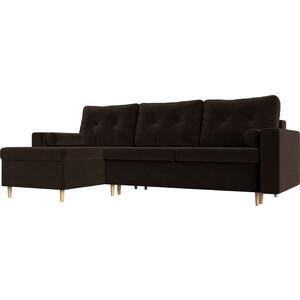 Угловой диван Мебелико Белфаст микровельвет коричневый левый угол