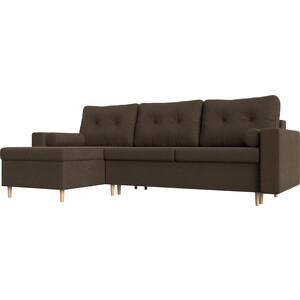 Угловой диван Мебелико Белфаст рогожка коричневый левый угол